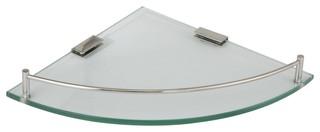 "Ucore 10"" Corner Bathroom Glass Shelf With Railing"