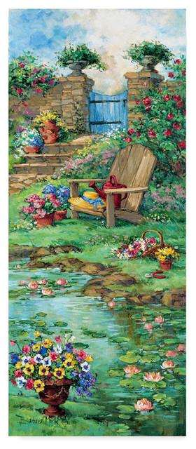 Barbara Mock &x27; Blue Garden Gate&x27; Canvas Art. -1