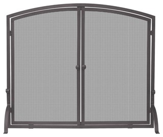 Uniflame 1 panel screen with doors in bronze finish for Home decor 80121