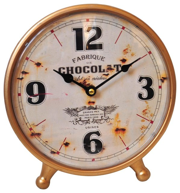 Foreside Chocolate Tabletop Clock Rustic Floor And Grandfather Clocks