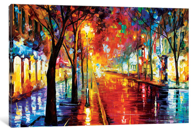 """""""street Of The Old Town"""" By Leonid Afremov, 26x18x0.75""""."""