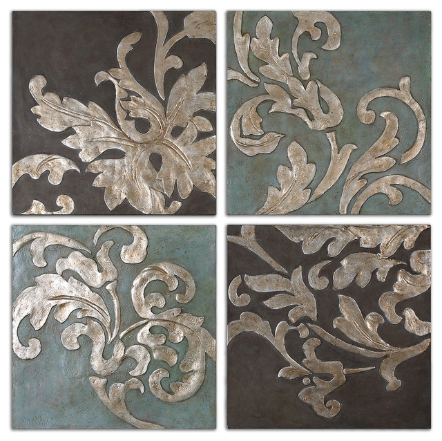 Damask Relief Blocks Wall Art 4-Piece Set & Damask Relief Blocks Wall Art 4-Piece Set - Traditional - Paintings ...