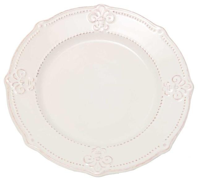 Mediterranean Style Dinnerware: Cream Fleur De Lis Dinner Plate