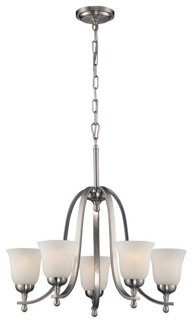 5 light chandelier in Brushed Nickel