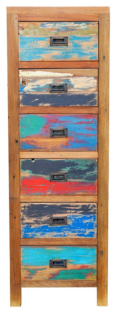 Chest with 6 Vertical Drawers Made From Recycled Teak Wood Boats