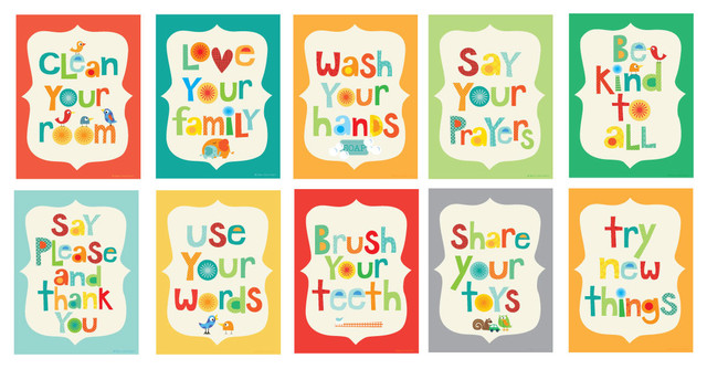 Good Manners 10 Piece Card Set Contemporary Kids Wall