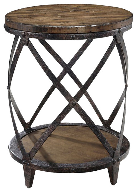 Pinebrook Round Accent Table Industrial Side Tables And End Tables