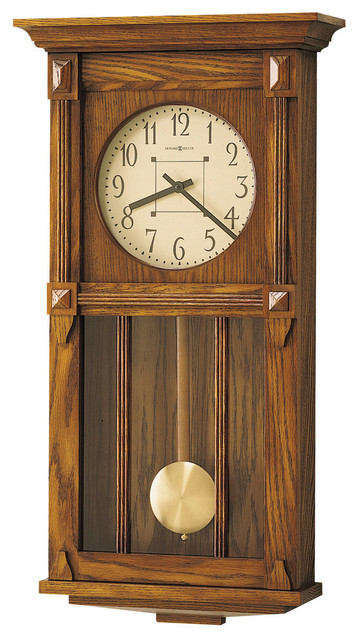 Howard Miller Contemporary Dual Chime Oak Pendulum Wall