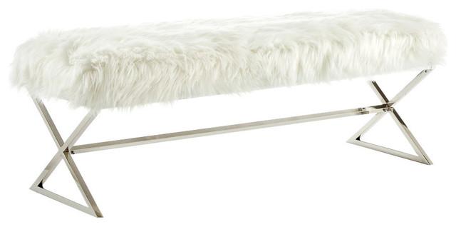 Superb Oria Faux Fur X Leg Chrome Gold Base Bench White Chrome Uwap Interior Chair Design Uwaporg
