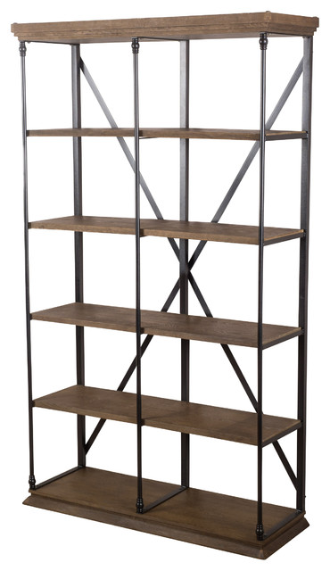 Alondra 5 Shelf Industrial Weathered Wood Bookshelf Khaki