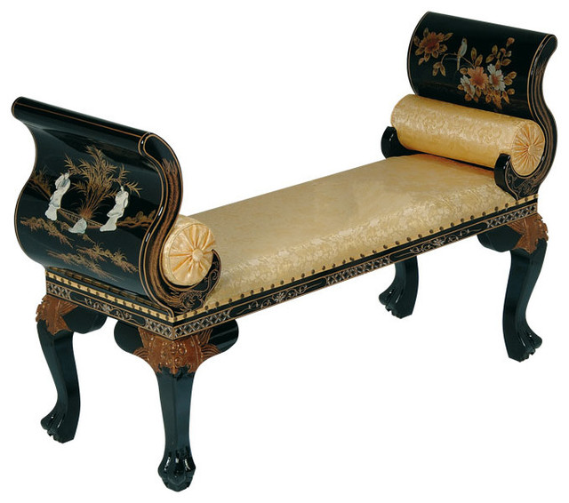 Incredible French Style Bench Finished In Black Lacquer And Mother Of Pearl Inlay In Chines Creativecarmelina Interior Chair Design Creativecarmelinacom