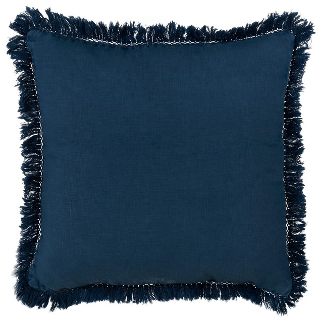"Stonewashed Fringed Linen 20""x20"" Down Filled Throw Pillow, Navy Blue."