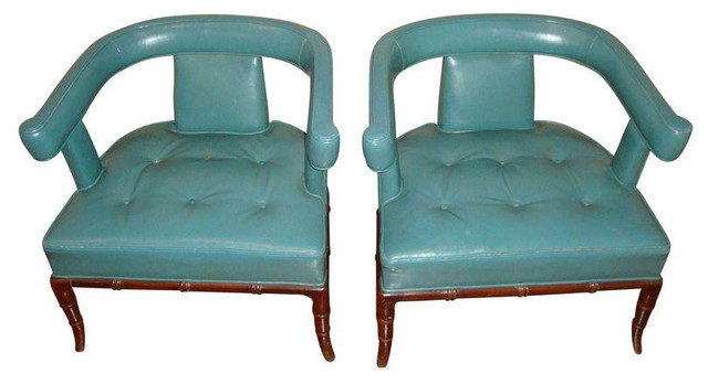 Vintage Hollywood Regency Bamboo Chairs In Teal  Midcentury Armchairs And Accent Chairs
