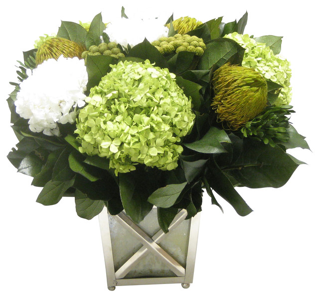 brunia yellow banksia green hydrangea basil white floral