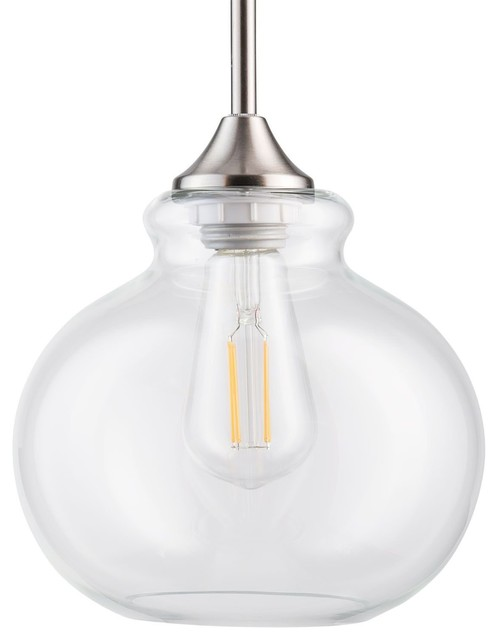 Brushed Nickel Stem Hung Pendant Lamp Clear Glass 1 Light