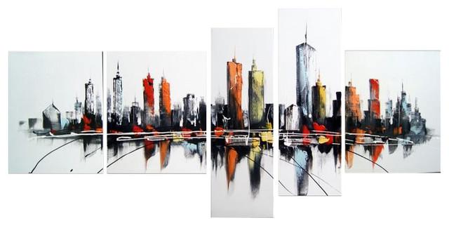 Pieces Modern Canvas Painting Dallas Skyline