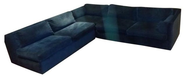 Superior Mid Century Modern Blue Velvet Sectional Modern Sectional Sofas