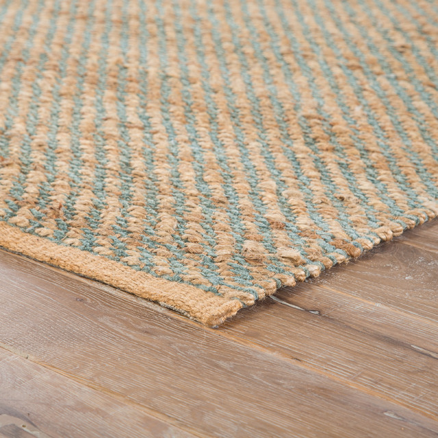 Jaipur Living Diagonal Weave Natural Solid Tan/green Area Rug, 5&x27;x8&x27;.