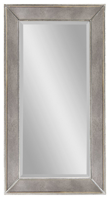 Rectangular Wall Mirror beaded antique silver rectangle wall mirror - traditional - wall