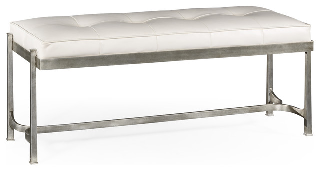 Silver Iron And White Leather Bench Contemporary Upholstered