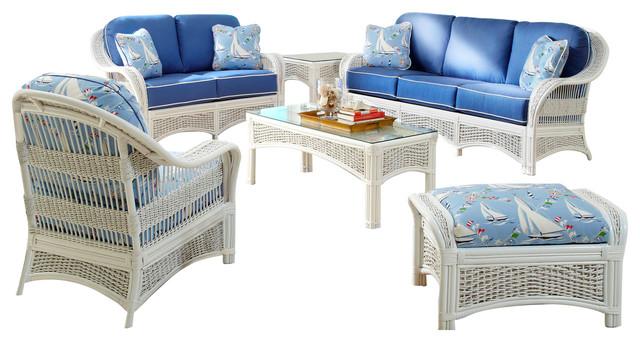Regata 6-Piece Living Room Furniture Set In White, Beach-Lily Fabric.