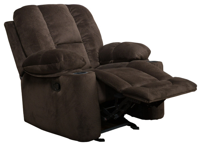 Raymond Brown Fabric Glider Recliner Club Chair