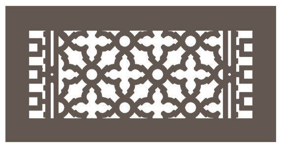 "Aluminum Scroll Pattern Grille, Oil Rubbed Bronze, 6""x14""."