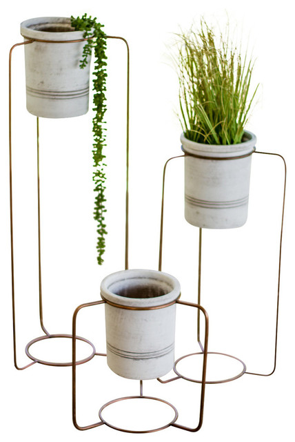Gwg Outlet White Wash Pots With Copper Finish Metal Stands Set Of 3