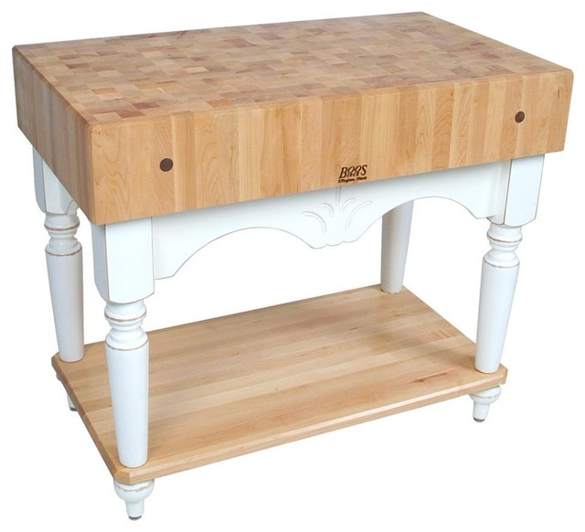 John Boos Calais Maple Kitchen Island 42 X24 Alabaster White Farmhouse Kitchen
