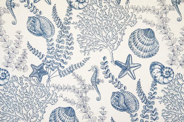 Seahorse Fabric Ocean Reef Blue Toile