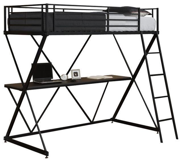 dhp xshaped twin metal loft bunk bed in black