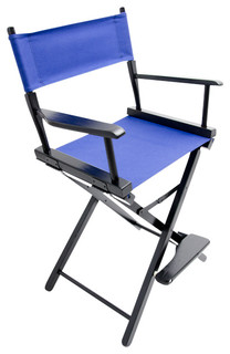"""Gold Medal 24"""" Black Commercial Director's Chair, Royal Blue"""