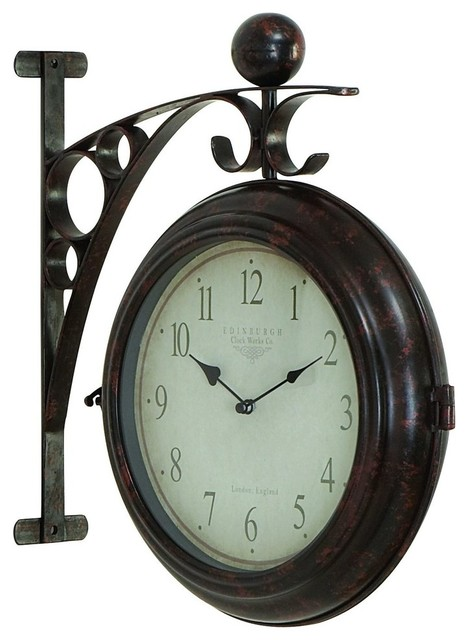 Train Station Style Wall Hanging Round Clock Black Metal Home Decor 42807
