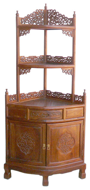 Chinese Huali Rosewood Quarter Round Corner Display Cabinet - Asian - China Cabinets And Hutches ...