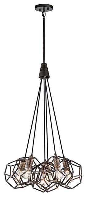 Rocklyn 6-Light Pendants, Raw Steel.
