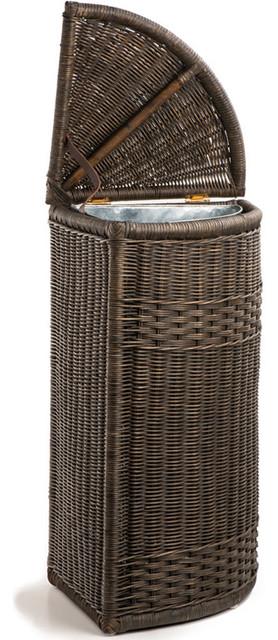 Corner Wicker Trash Basket With Metal Liner Trash Cans