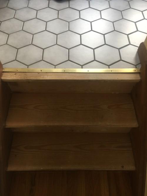 Tile Landing Stair Transition Tile Design Ideas