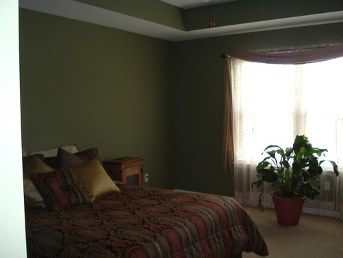 i have a really dark green bedroom and cherry furniture. how can i