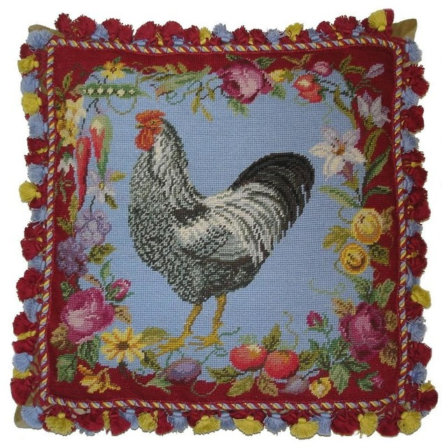 HKH French Country Rooster Red & Floral Border Needlepoint