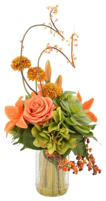 Tiger Lily And Rose Arrangement With Cactus Contemporary