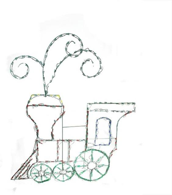 60 Pre Lit Multi Color Led Animotion Toy Train Christmas Yard Art