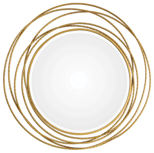 Uttermost Whirlwind Gold Round Mirror.