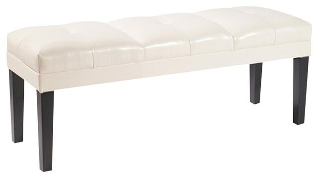 Howard Bench Bonded Leather, Cream. -1