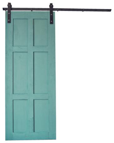 6 panel barn door transitional interior doors by artisan hardware