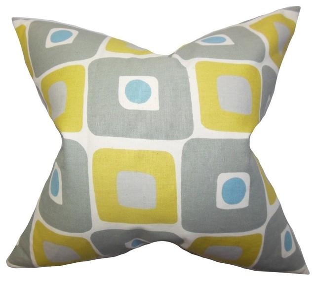 "Delight Geometric Pillow Yellow 18""x18""."