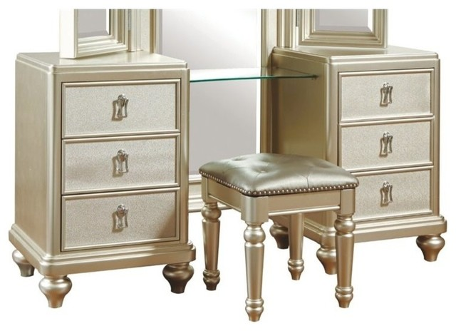 Samuel Lawrence Diva Vanity With Stool, Silver - Traditional ...