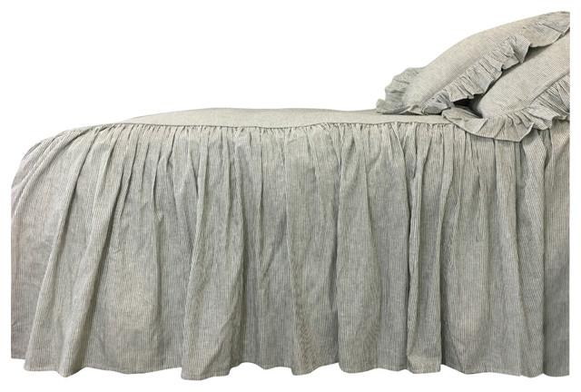 White Ticking Striped Bedspread, Black Ticking Stripe Bedding