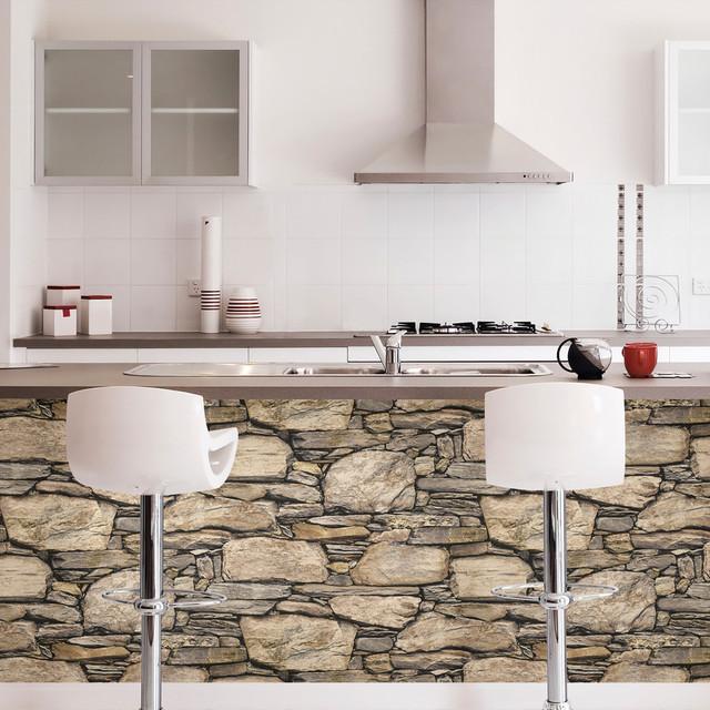 Hadrian 3d Ledger Stone Rock Brick Wall Peel And Stick Wallpaper, Roll. -1
