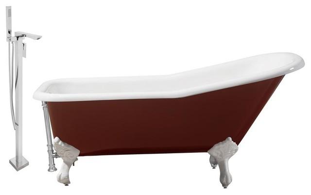 Streamline 66 Faucet/cast Iron Tub Set, Chrome Popup Drain, Showerhead H-140.