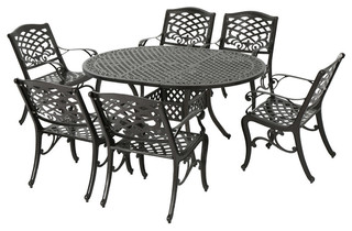 GDF Studio 7-Piece Clarisse Outdoor Finished Aluminum Dining Set -  Traditional - Outdoor Dining Sets - by GDFStudio